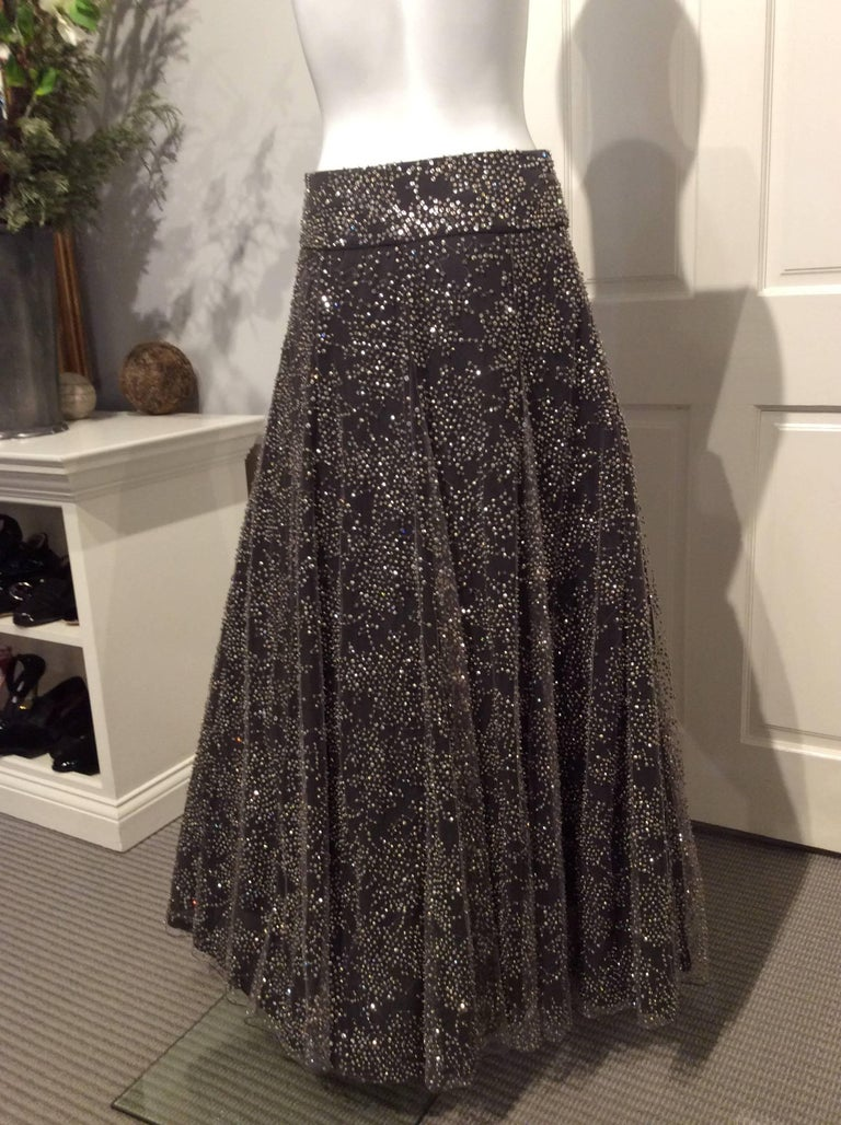 Armani Long Grey Tulle Skirt With Crystal Embroidery Sz38 (Us 2) In New Condition For Sale In San Francisco, CA