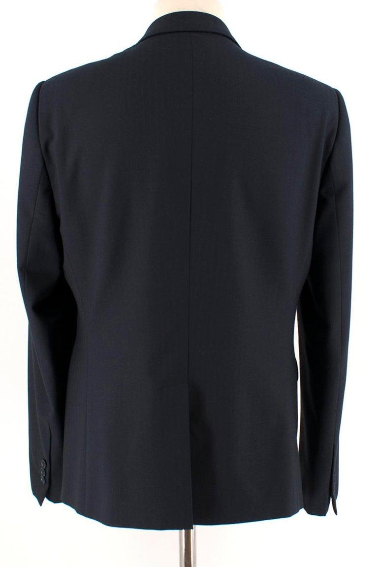 Black Armani Navy Blue Wool Blend JacketSIZE 50 For Sale
