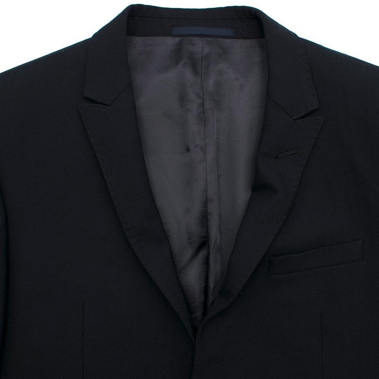 Armani Navy Blue Wool Blend JacketSIZE 50 In Excellent Condition For Sale In London, GB
