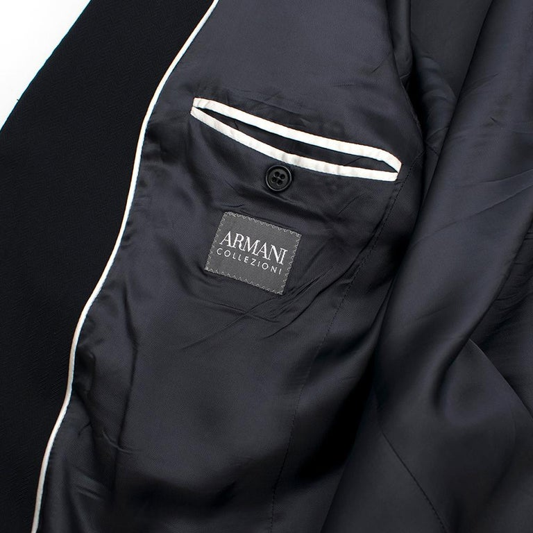 Armani Navy Blue Wool Blend JacketSIZE 50 For Sale 1