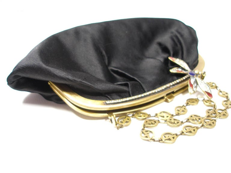 Armani Vintage Evening Small Handbag or Clutch Black Satin and Strass Butterfly For Sale 6