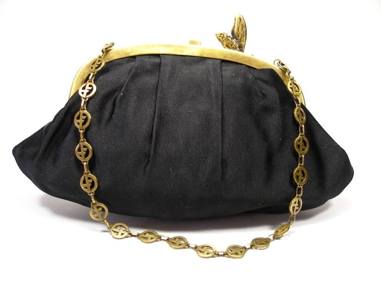 Armani Vintage Evening Small Handbag or Clutch Black Satin and Strass Butterfly For Sale 2