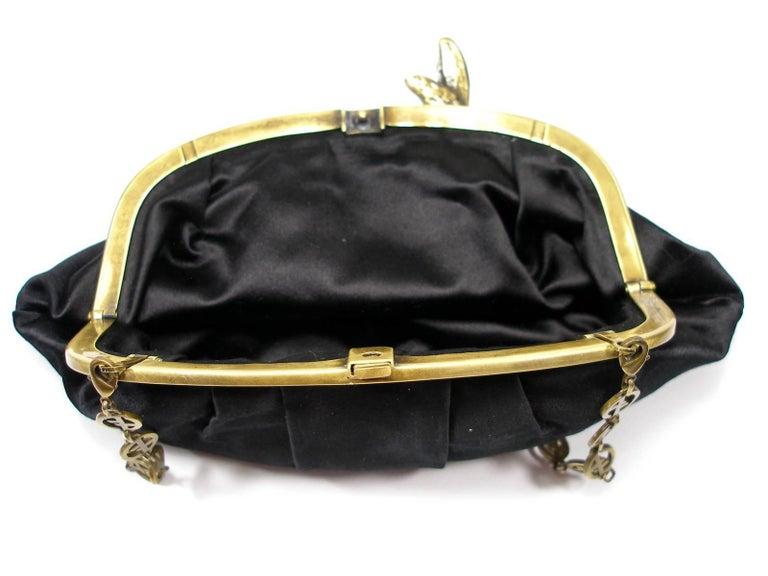 Armani Vintage Evening Small Handbag or Clutch Black Satin and Strass Butterfly For Sale 4