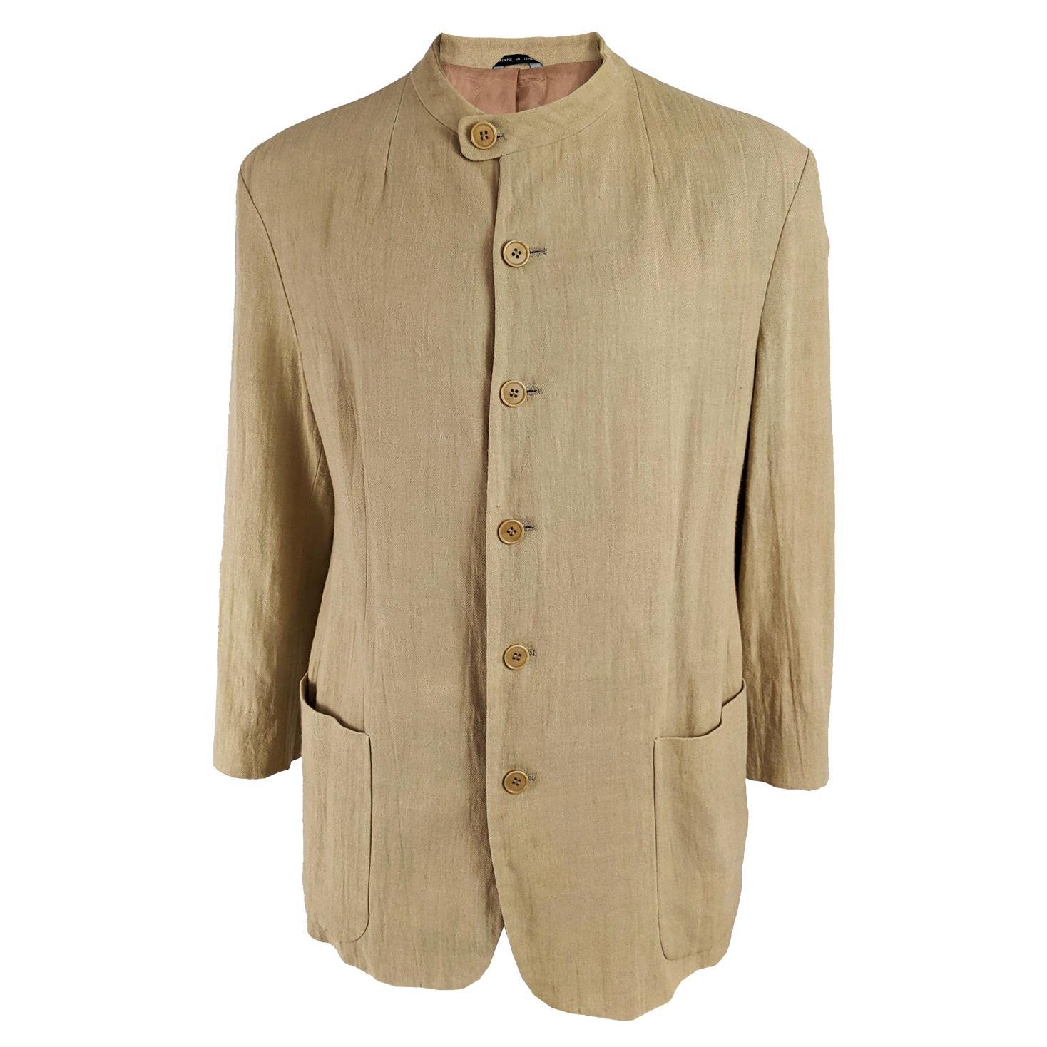 Armani Vintage Mens Collarless Minimalist Blazer Jacket, 1990s