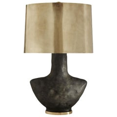 Armato Table Lamp, Black Ceramic with Brass Opaque Oval Shade by Kelly Wearstler