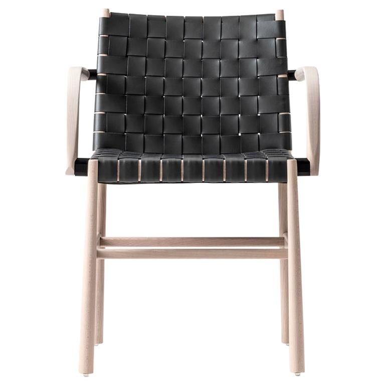 Armchair 0023-CU-AR Beechwood Painted and Interwoven Thickleather Seat and Back For Sale