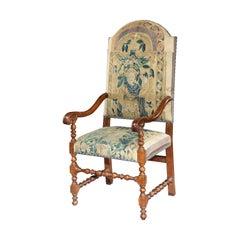 Armchair, chair, 17th Century, Italian, Walnut, Scroll, Baroque, Tapestry