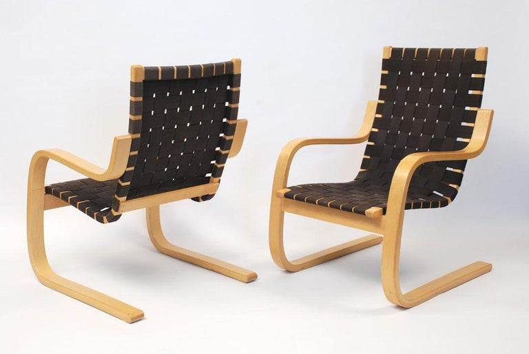 Armchair 406 in Birch and Natural Linen by Alvar Aalto and ...