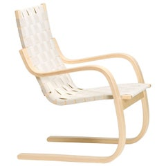 Armchair 406 in Birch and Natural Linen by Alvar Aalto & Artek