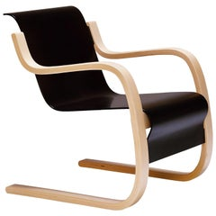Armchair 42 in Birch and Black by Alvar Aalto & Artek
