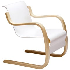 Armchair 42 in Birch and White by Alvar Aalto & Artek