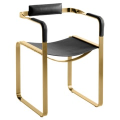 Armchair, Aged Brass Steel and Black Saddle Leather, Contemporary Style