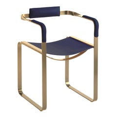 Armchair, Aged Brass Steel and Blue Navy Leather, Wanderlust Collection