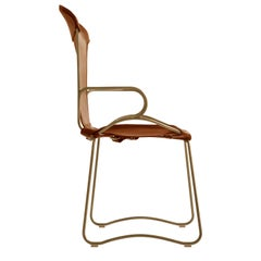 Armchair, Aged Brass Steel and Natural Tobacco Leather