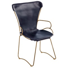 Armchair, Aged Brass Steel and Navy Saddle Leather