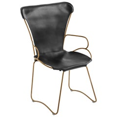 HUG Armchair Aged Brass Steel and Vegetable Tanned Black Saddle Leather