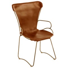 HUG Armchair Aged Brass Steel and Vegetable Tanned Natural Tobacco Leather