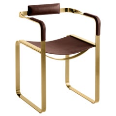 Armchair, Aged Brass Steel & Dark Brown Saddle Leather, Contemporary Style