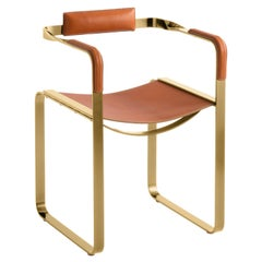 Armchair, Aged Brass Steel & Natural Tobacco Saddle Leather, Contemporary Style