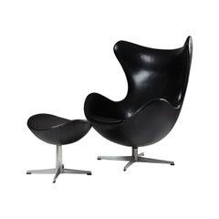 """Armchair and Foot Stool """"Egg"""" Designed by Arne Jacobsen for Fritz Hansen Denmark"""
