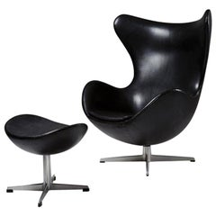 Armchair and Foot Stool, the Egg, Designed by Arne Jacobsen for Fritz Hansen