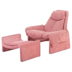 Armchair and Footrest in Pink Alcantara by Vittorio Introini for Saporiti