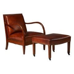 Armchair and Footstool Designed by Bent Helweg-Möller, Denmark, 1930s