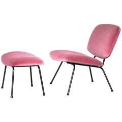 "French Mid-century Pink Fabric Armchair and Ottoman ""CM 190"" by Pierre Paulin"