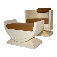 Armchair and Pouf Set by Piero Pinto by Tura