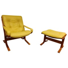 Armchair and stool by Ingmar Relling for Westnofa, 1970s