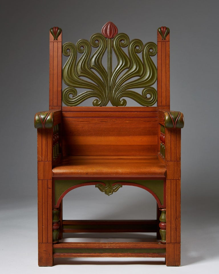 Scandinavian Modern Armchair, Anonymous, for A. Lagerberg, Sweden, 1897 For Sale