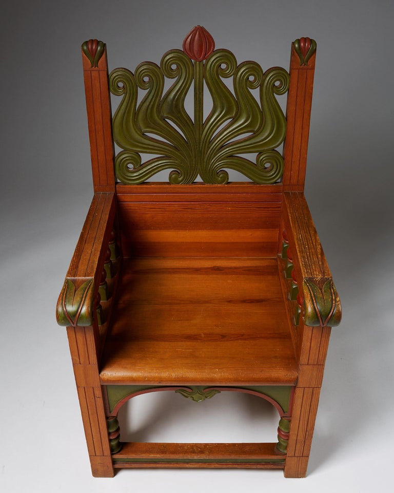 Swedish Armchair, Anonymous, for A. Lagerberg, Sweden, 1897 For Sale