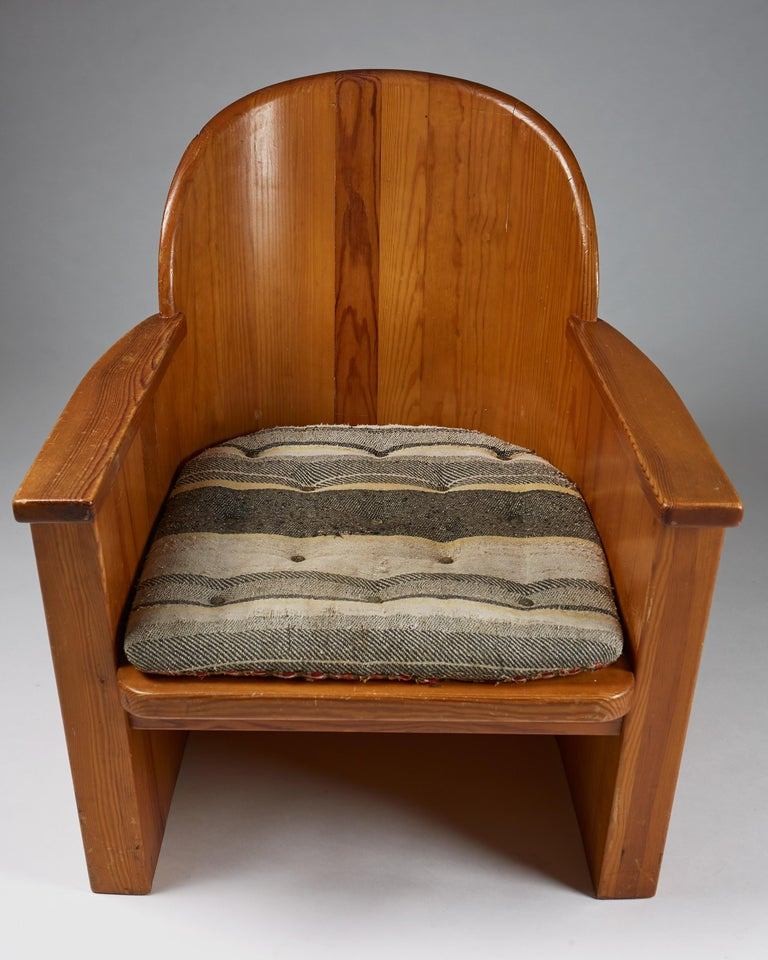 Swedish Armchair Attributed to Axel-Einar Hjorth for Åby Furniture, Sweden, 1950s For Sale