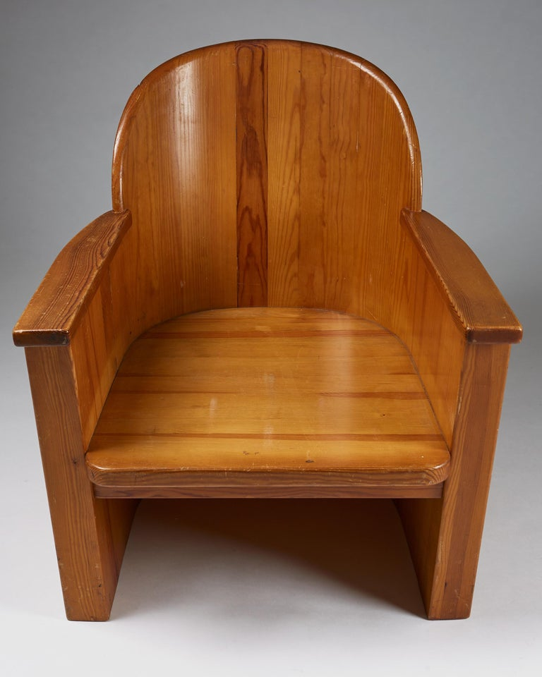 Armchair Attributed to Axel-Einar Hjorth for Åby Furniture, Sweden, 1950s In Good Condition For Sale In Stockholm, SE