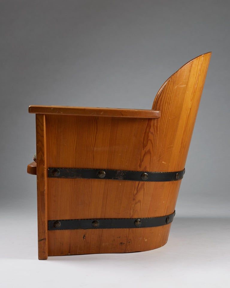 Mid-20th Century Armchair Attributed to Axel-Einar Hjorth for Åby Furniture, Sweden, 1950s For Sale