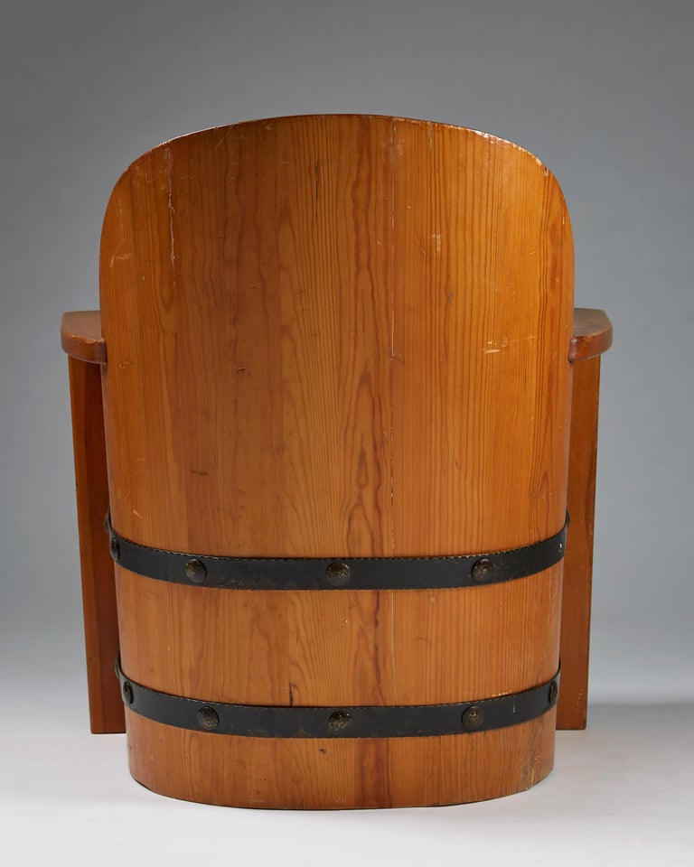 Pine Armchair Attributed to Axel-Einar Hjorth for Åby Furniture, Sweden, 1950s For Sale