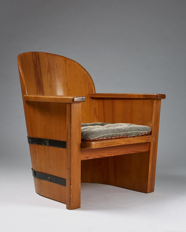 Armchair Attributed to Axel-Einar Hjorth for Åby Furniture, Sweden, 1950s For Sale 1