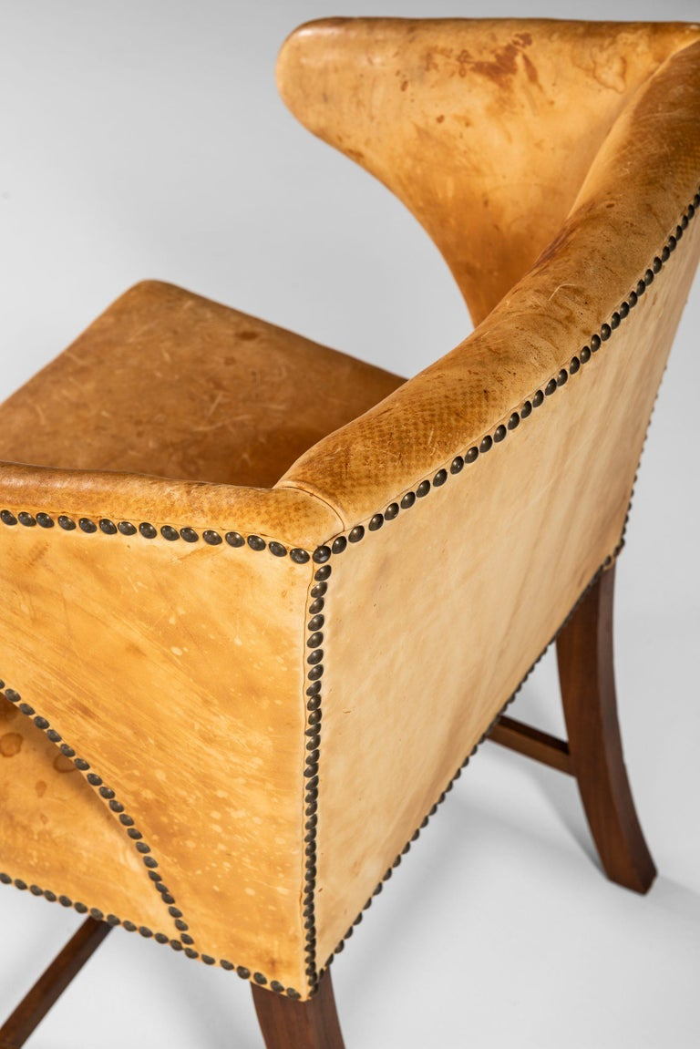 Leather Armchair Attributed to Frits Henningsen by cabinetmaker Frits Henningsen For Sale