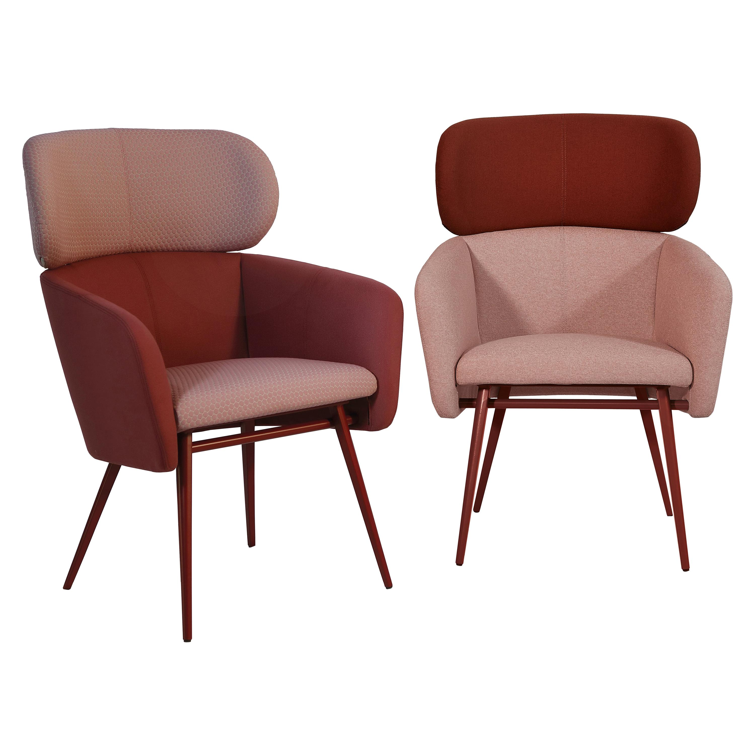 Armchair Balu' Lounge Metal Frame and Fabric Red Color by Emilio Nanni