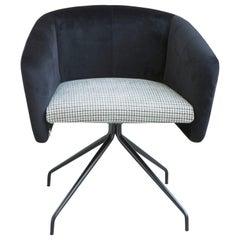 Armchair Balu' Office, Metal Base Swivel and Upholstery in Velvet by Emilio Nan