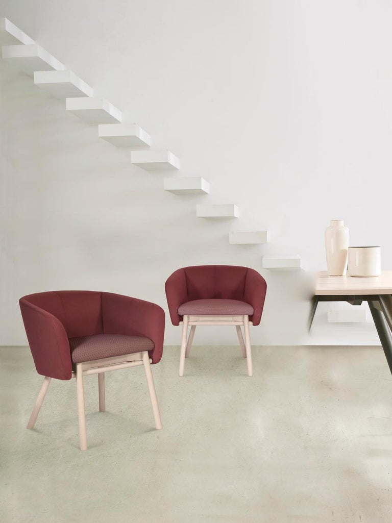 Modern Armchair Balu' Wood Frame Walnut and Upholstery in Red Velvet by Emilio Nanni For Sale