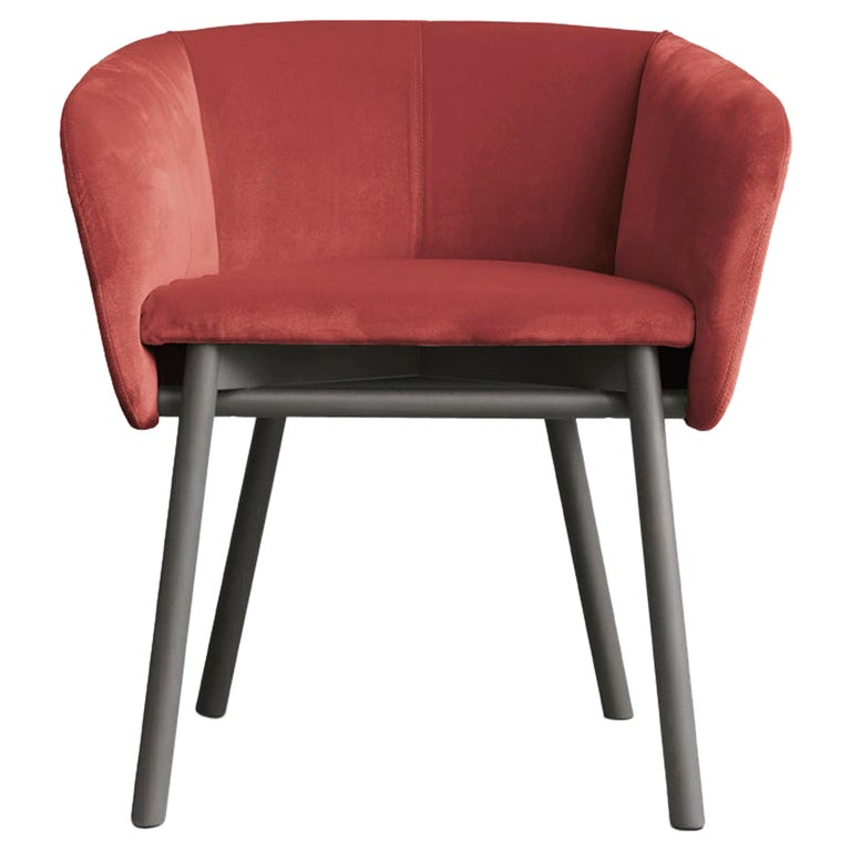 Armchair Balu' Wood Frame Walnut and Upholstery in Red Velvet by Emilio Nanni For Sale