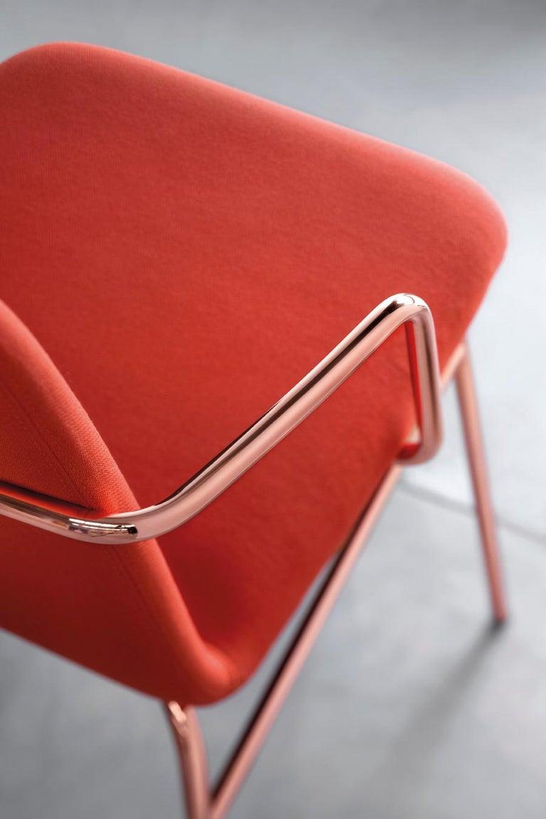 Scandinavian Modern Armchair Bardot Met, Fabric, Metal, Black, Red, Green Modern by Emilio Nanni For Sale