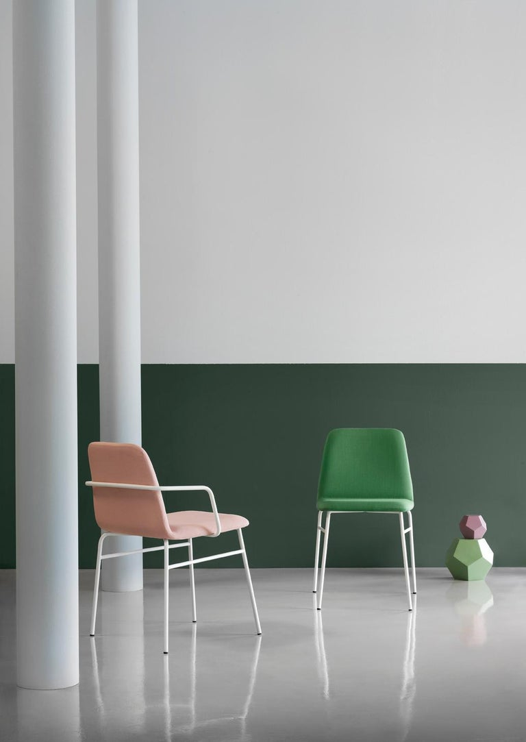 Italian Armchair Bardot Met, Fabric, Metal, Black, Red, Green Modern by Emilio Nanni For Sale