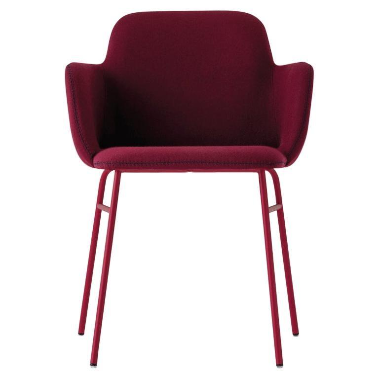 Armchair Bardot Met, Fabric, Metal, Black, Red, Green Modern by Emilio Nanni For Sale