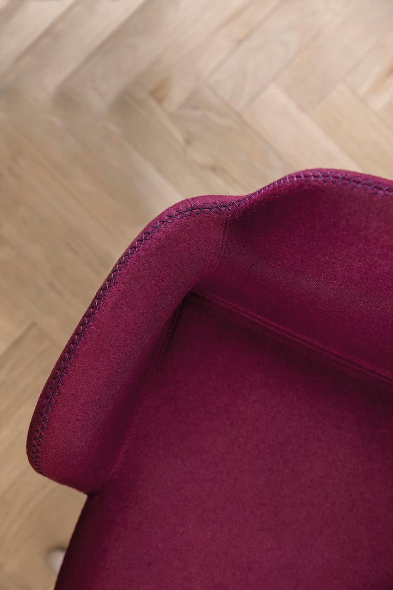 Italian Armchair Bardot Wood, Fabric, Metal, Black, Red, Green Modern by Emilio Nanni For Sale