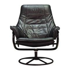 Armchair Black Leather 1970s Vintage Danish Design