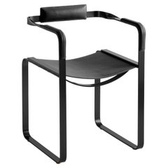 Armchair, Black Smoke Steel and Black Leather, Contemporary Style