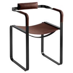 Armchair, Black Smoke Steel and Dark Brown Saddle Leather, Contemporary Design