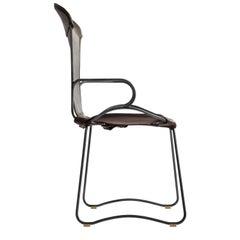 Armchair, Black Smoke Steel and Dark Brown Saddle Leather